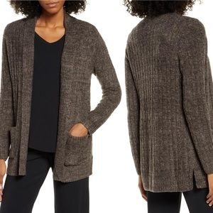 Barefoot Dreams Brown Cable Knit Fleece Cardigan